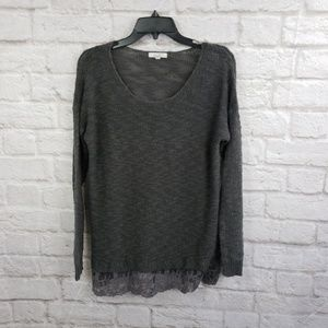 Delias Scoop neck Sweater Gray With Lace Hem
